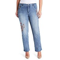 Plus Size Gloria Vanderbilt Amanda Embroidery High-Rise Jeans