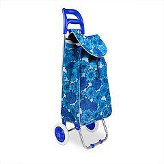 Home Basics Plaid Print Rolling Shopping Cart