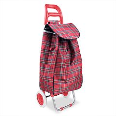 Home Basics Plaid Print Rolling Shopping Cart