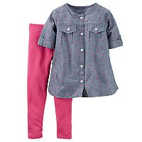 Baby Girl Carter's Chambray Dot Tunic & Legging Set