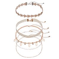 Heart Link, Shaky Leaf & Floral Lace Choker Necklace Set