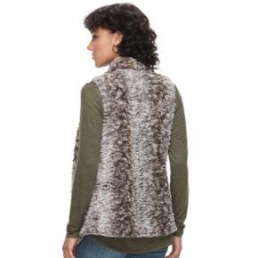 Juniors' Rewind Draped Faux-Fur Vest