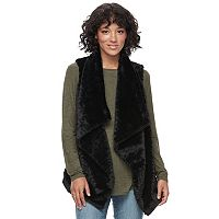 Juniors' Rewind Draped Faux-Fur Vest