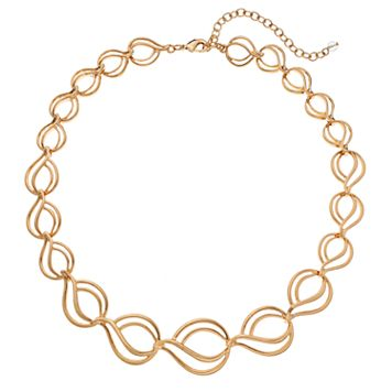 Napier Graduated Wavy Teardrop Link Necklace