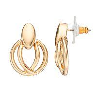 Napier Round Crisscross Nickel Free Door Knocker Earrings