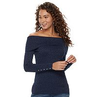Women's Jennifer Lopez Off-the-Shoulder Glitter Sweater