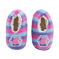 Toddler Girl Peppa Pig Striped Plush Fleece Slipper Socks