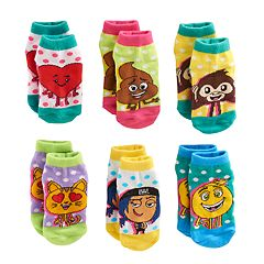 Toddler Girl The Emoji Movie Gene, Jailbreak & Poop 6 pkCrew Socks