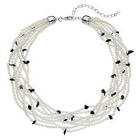 Napier Simulated Pearl & Oblong Bead Chunky Necklace
