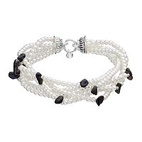Napier Simulated Pearl Multi Strand Stretch Bracelet