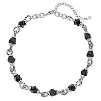 Napier Black Beaded Circle Link Station Necklace