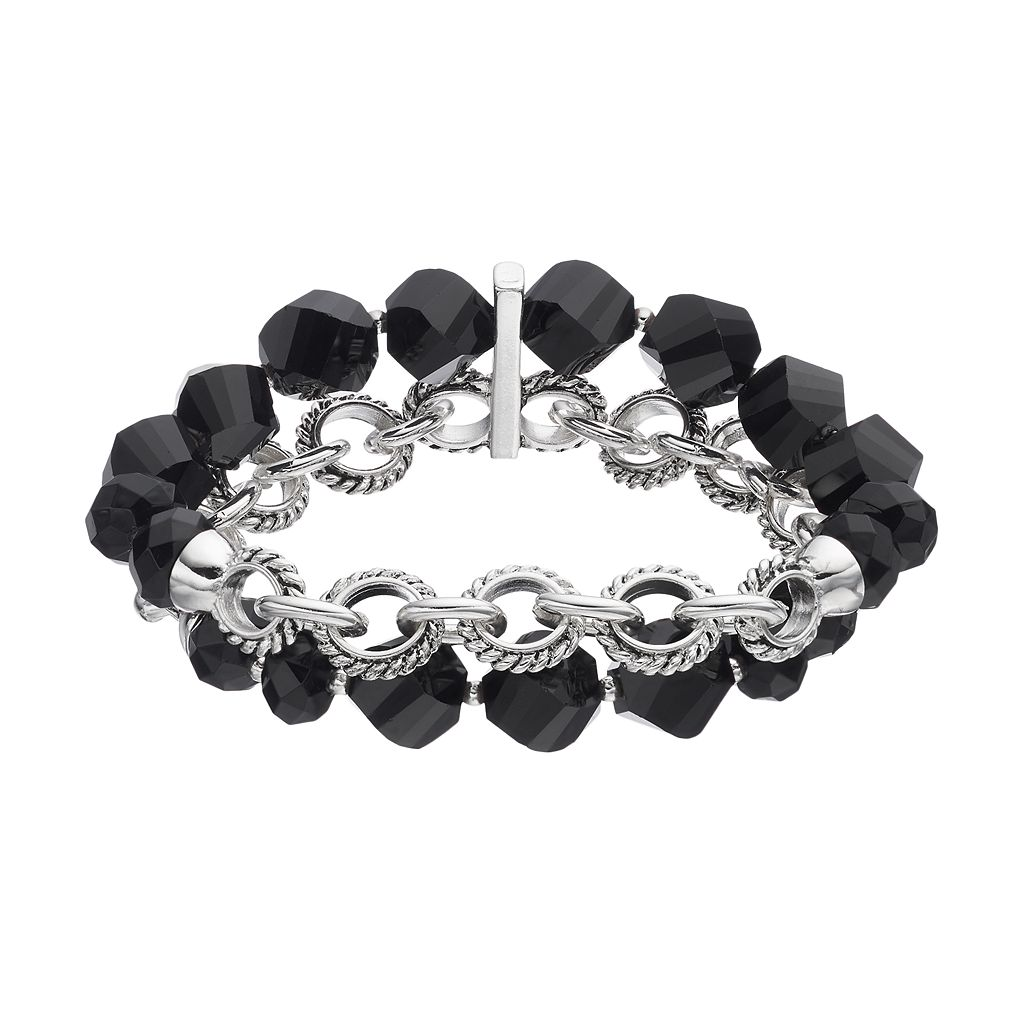 Napier Black Beaded Circle Link Double Strand Stretch Bracelet