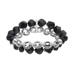 Napier Black Beaded Circle Link Double Strand Stretch Bracelet