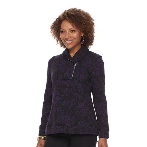Petite Croft & Barrow® Shawl Collar Textured Sweatshirt