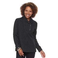 Petite Croft & Barrow® Shawl Collar Textured Sweatshirt