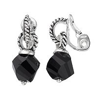 Napier Black Faceted Bead Nickel Free Clip On Earrings