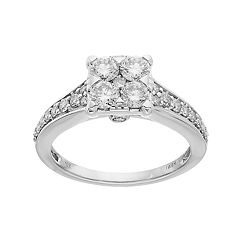 Lovemark 10k White Gold 1 Carat T.W. Diamond Square Cluster Engagement Ring