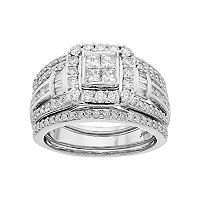 Lovemark 10k White Gold 1 1/2 Carat T.W. Diamond Square Halo Engagement Ring Set