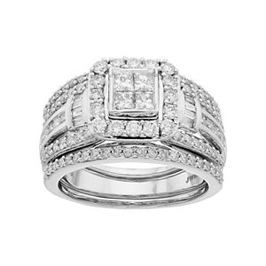 Lovemark 10k White Gold 1 1/2 Carat T.W. Diamond Square Halo Engagement Ring Set