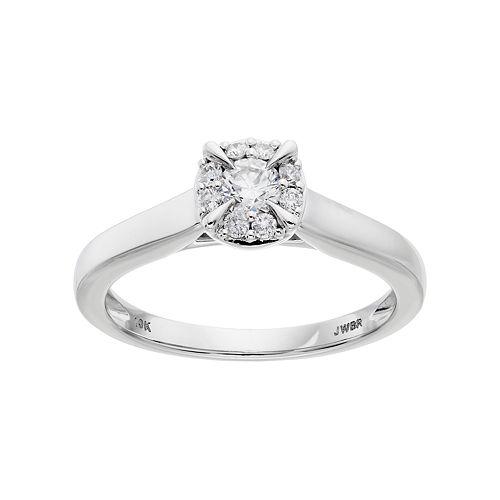Lovemark 10k White Gold 1/3 Carat T.W. Diamond  Halo Engagement Ring