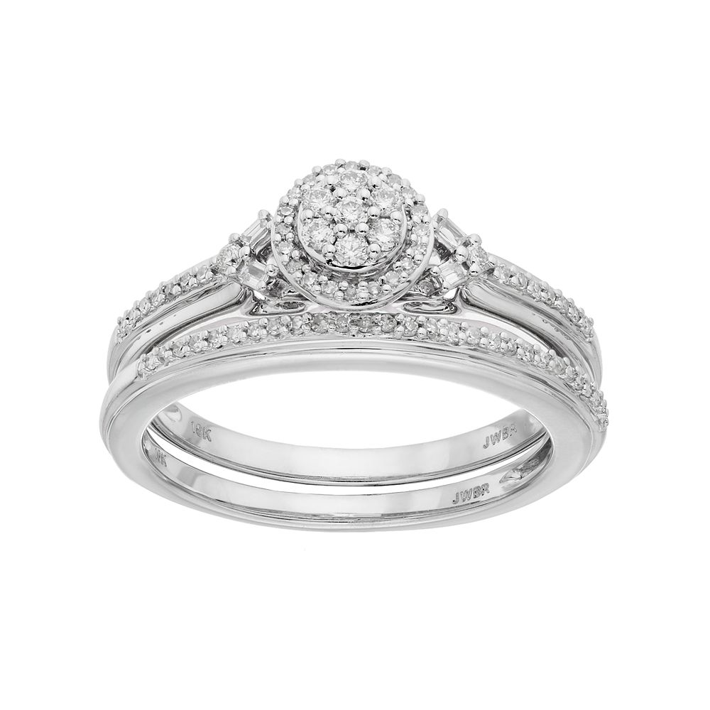 lovemark 10k white gold 14 carat tw diamond cluster engagement ring set - 10k Wedding Ring