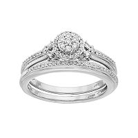 Lovemark 10k White Gold 1/4 Carat T.W. Diamond Cluster Engagement Ring Set