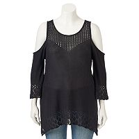 Plus Size LC Lauren Conrad Cold-Shoulder Eyelet Sweater