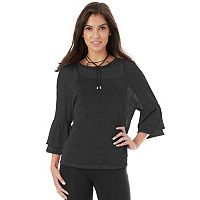 Juniors' IZ Byer Lurex Ruffle Sleeve Top