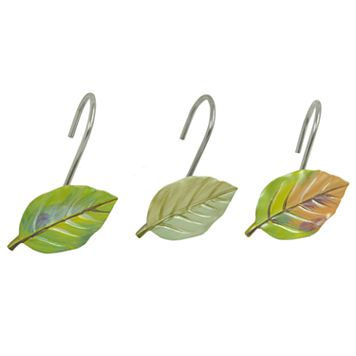 Bacova Waterfall Leaves Shower Curtain Hooks