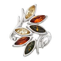Sterling Silver Amber Leaf Ring