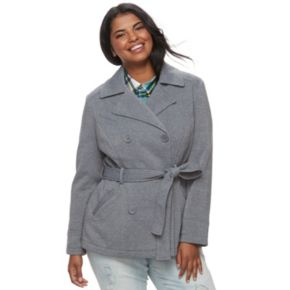 Juniors' Plus Size J-2 Double Breasted Coat