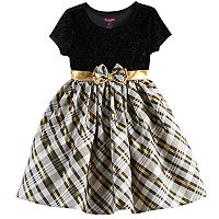 Girls 4-6x Nannette Sparkle Plaid Knit Dress