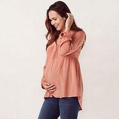 Maternity LC Lauren Conrad High-Low Pintuck Peasant Top