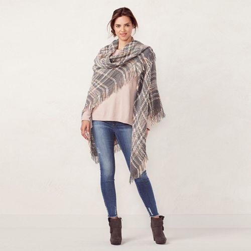 LC Lauren Conrad Plaid Square Blanket Scarf