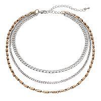 Two Tone Layered Choker Necklace