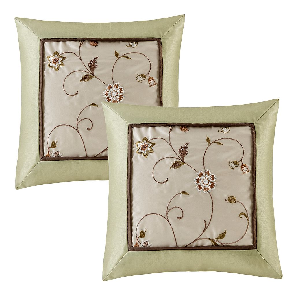 Madison Park 2-piece Embroidered Floral Throw Pillow Set