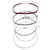 Maroon Velvet, Shaky Disc & Beaded Choker Necklace Set