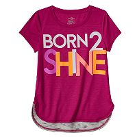 Girls 7-16 SO® Glow-in-the-Dark Graphic Blocked Droptail Dolman Tee