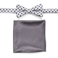 Men's Croft & Barrow® Patterned Pre-Tied Bow Tie & Solid Pocket Square Set