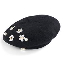 Women's David & Young Studded Daisy Wool Beret