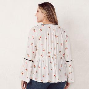 Plus Size LC Lauren Conrad Floral Velvet Trim Peasant Top
