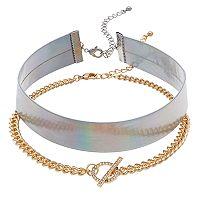 Iridescent & Faux Toggle Choker Necklace Set