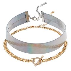 Iridescent & Faux Toggle Choker Necklace Set