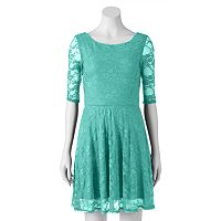 Juniors' Wrapper Floral Lace Skater Dress