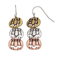 Tri Tone Antiqued Pumpkin Nickel Free Linear Drop Earrings