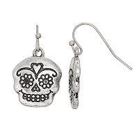 Antiqued Calaca Skull Nickel Free Drop Earrings