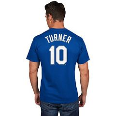 Men's Majestic Los Angeles Dodgers Justin Turner Name and Number Tee