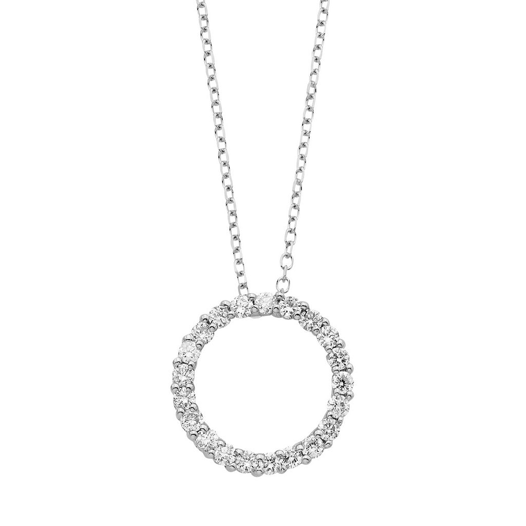 14k Gold 1/4 Carat T.W. IGL Certified Diamond Circle Pendant Necklace