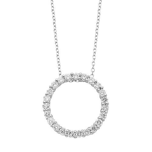 1796cd4822789 14k Gold 1/2 Carat T.W. IGL Certified Diamond Circle Pendant Necklace