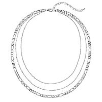 Silver Tone Layered Chain Necklace